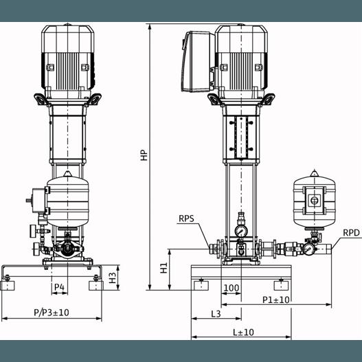 Габаритный чертеж насосной станции Wilo Smart 1 HELIX VE 1009