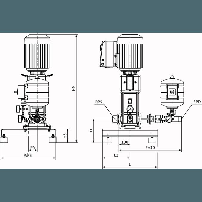 Габаритный чертеж насосной станции Wilo Smart 1 HELIX VE 1602