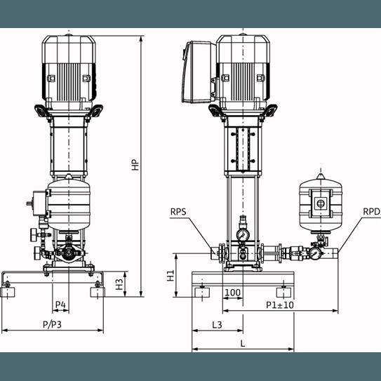 Габаритный чертеж насосной станции Wilo Smart 1 HELIX VE 1606