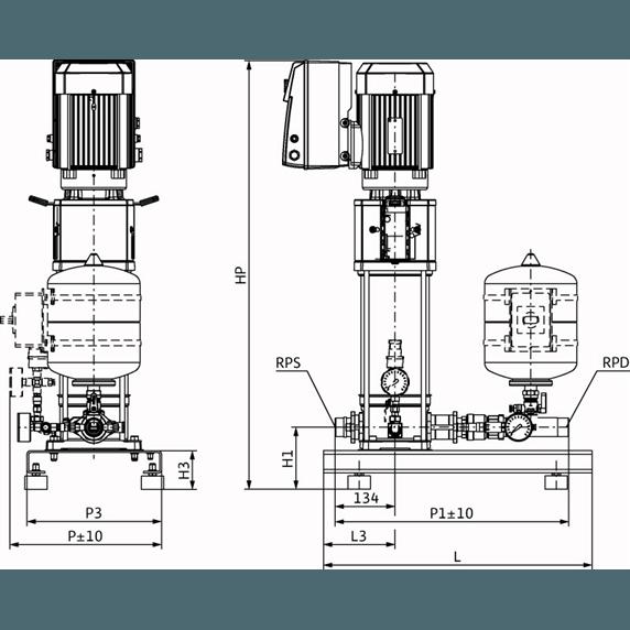 Габаритный чертеж насосной станции Wilo Smart 1 HELIX VE 204