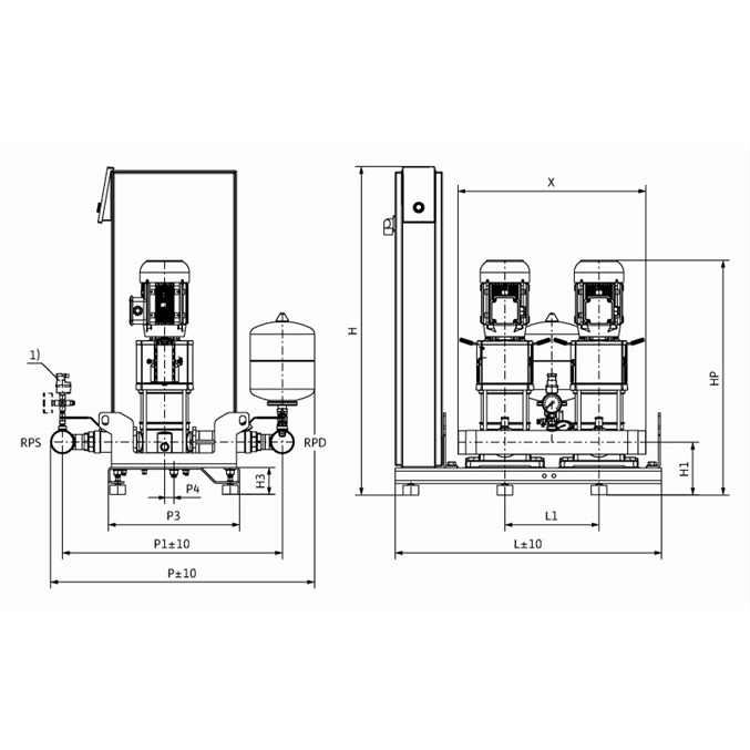 Габаритный чертеж насосной станции Wilo Smart 2 HELIX V 1002