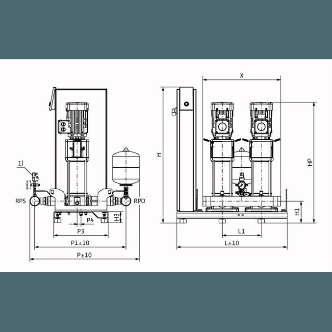 Габаритный чертеж насосной станции Wilo Smart 2 HELIX V 1007