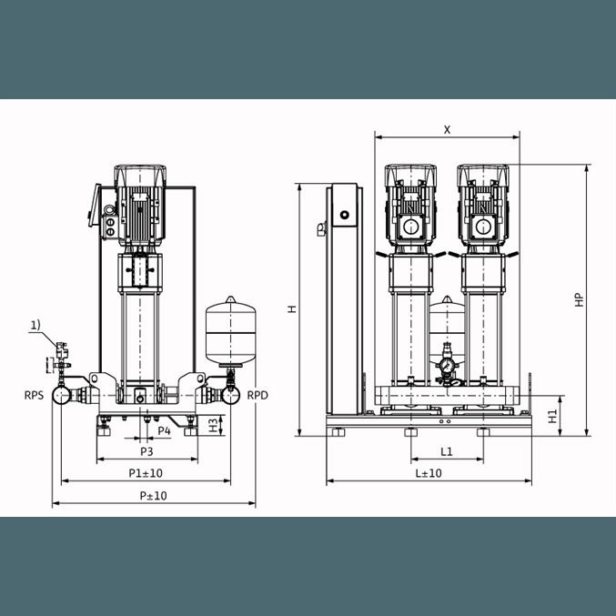 Габаритный чертеж насосной станции Wilo Smart 2 HELIX V 1009
