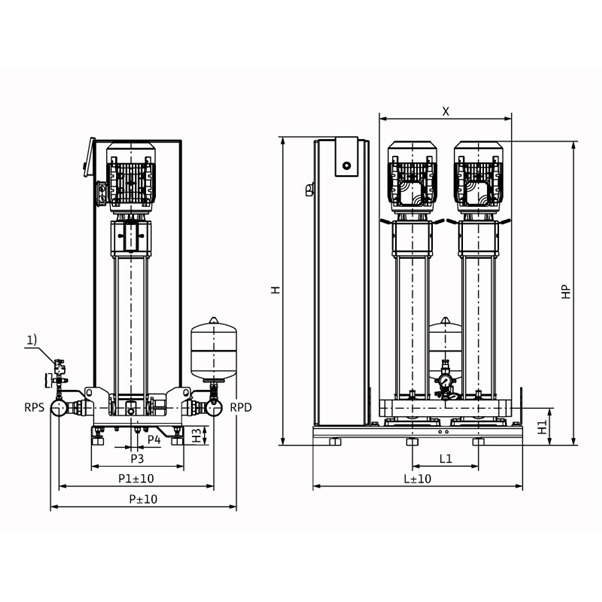 Габаритный чертеж насосной станции Wilo Smart 2 HELIX V 1012