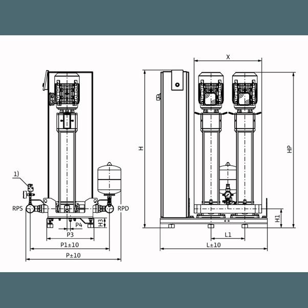Габаритный чертеж насосной станции Wilo Smart 2 HELIX V 1013