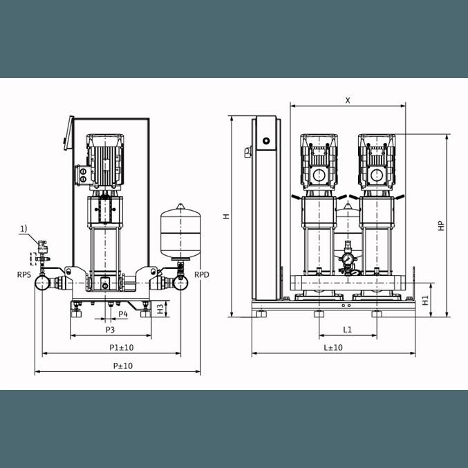 Габаритный чертеж насосной станции Wilo Smart 2 HELIX V 1605