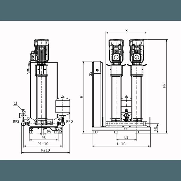 Габаритный чертеж насосной станции Wilo Smart 2 HELIX V 616