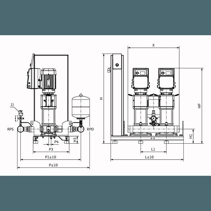 Габаритный чертеж насосной станции Wilo Smart 2 HELIX VE 1002