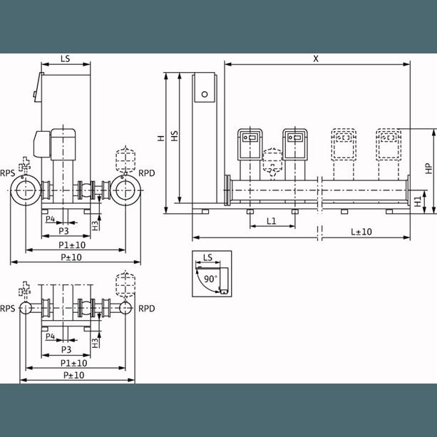 Габаритный чертеж насосной станции Wilo Smart 2 HELIX VE 1605