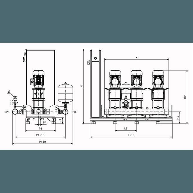 Габаритный чертеж насосной станции Wilo Smart 3 HELIX V 1003