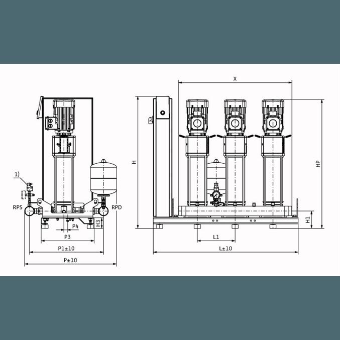 Габаритный чертеж насосной станции Wilo Smart 3 HELIX V 607