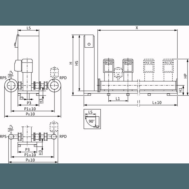 Габаритный чертеж насосной станции Wilo Smart 4 HELIX EXCEL 1009