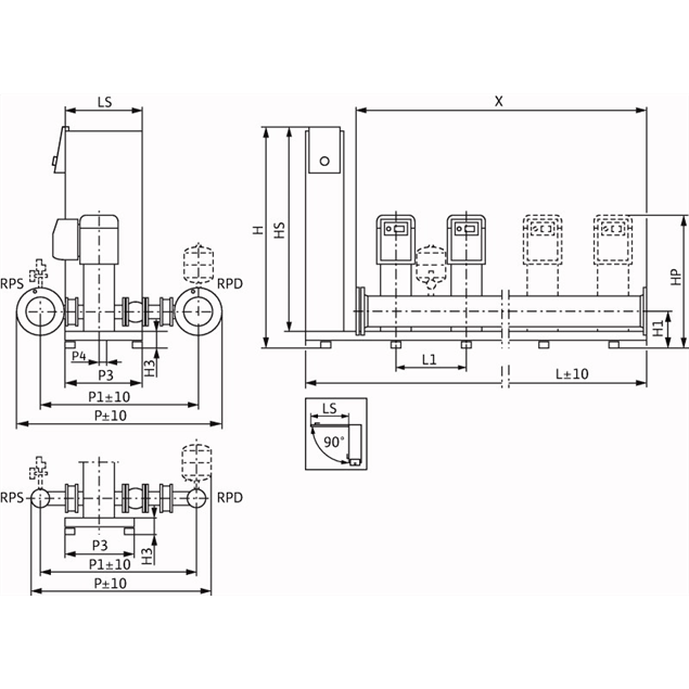 Габаритный чертеж насосной станции Wilo Smart 4 HELIX EXCEL 1605