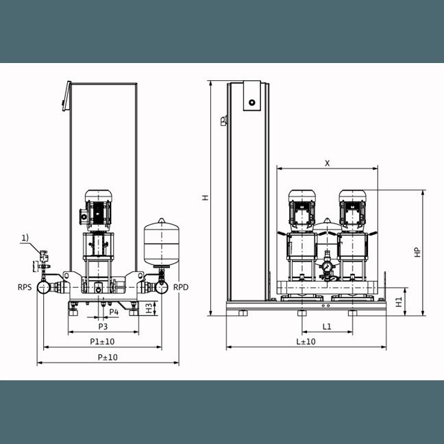 Габаритный чертеж насосной станции Wilo Smart FC 2 HELIX V 1003