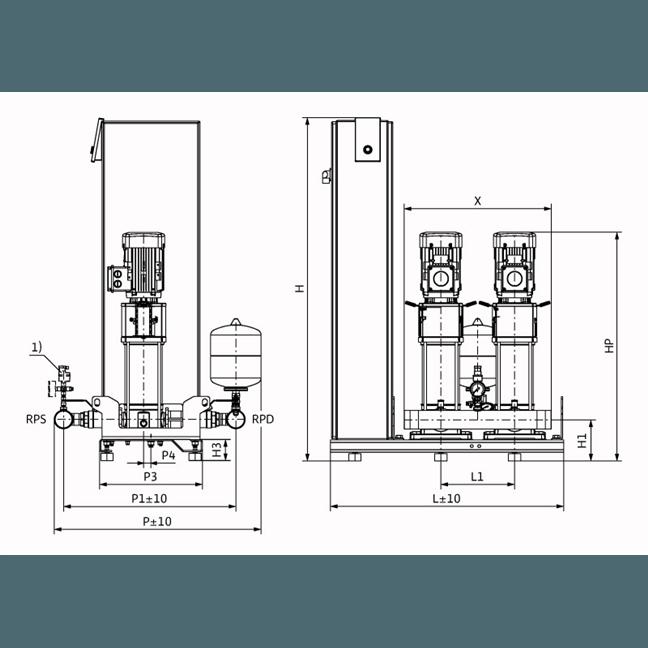 Габаритный чертеж насосной станции Wilo Smart FC 2 HELIX V 1007