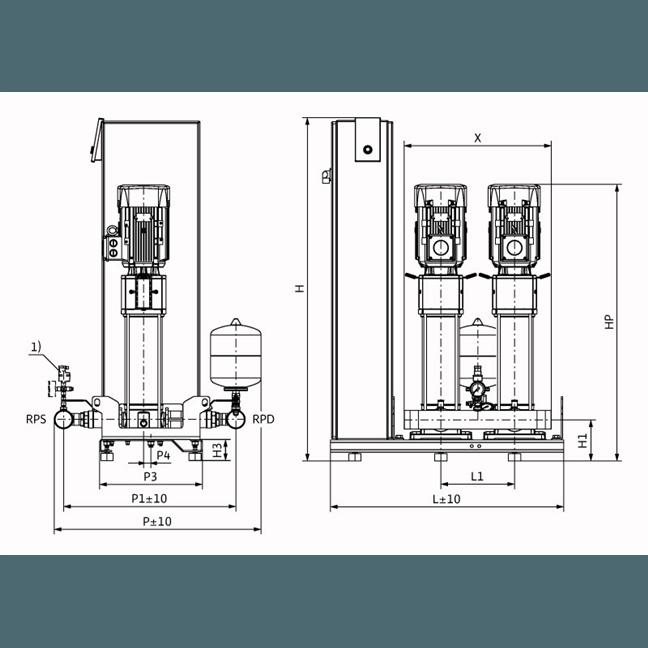 Габаритный чертеж насосной станции Wilo Smart FC 2 HELIX V 1011