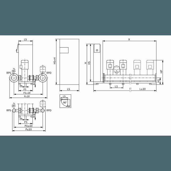 Габаритный чертеж насосной станции Wilo Smart FC 4 HELIX V 2208