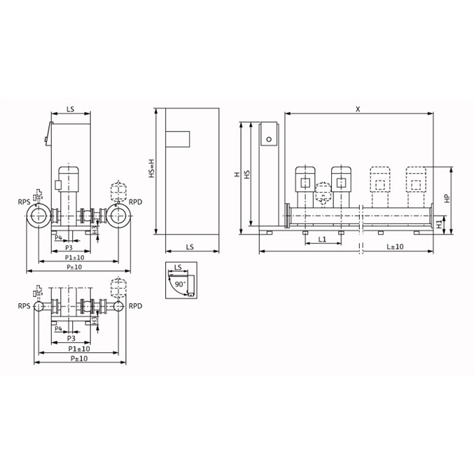 Габаритный чертеж насосной станции Wilo Smart FC 4 HELIX V 3602/2