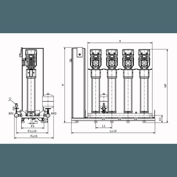 Габаритный чертеж насосной станции Wilo Smart FC 4 HELIX V 616