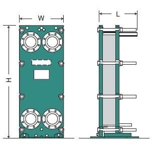 Габаритный чертеж пластинчатого разборного теплообменника Hisaka SX-71