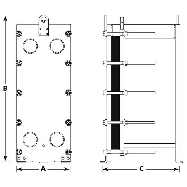 Габаритный чертеж пластинчатого разборного теплообменника Kelvion NT 150L