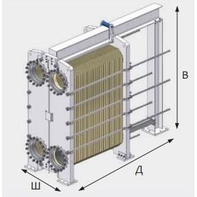 Габаритный чертеж пластинчатого разборного теплообменника LHE HT502