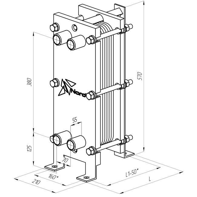 Габаритный чертеж пластинчатого разборного теплообменника Nord F
