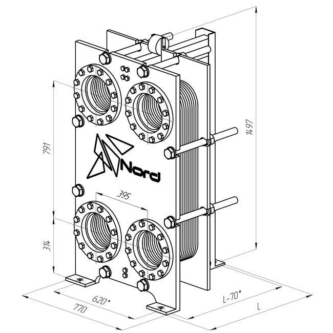 Габаритный чертеж пластинчатого разборного теплообменника Nord FTh