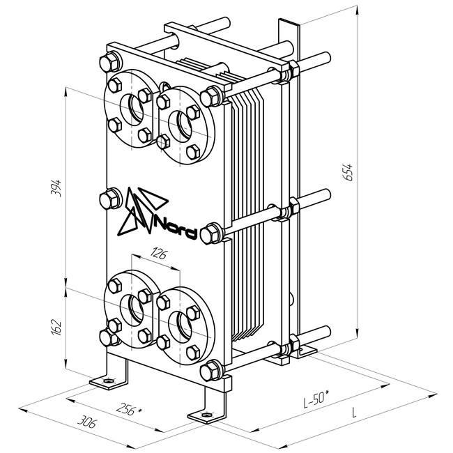 Габаритный чертеж пластинчатого разборного теплообменника Nord S