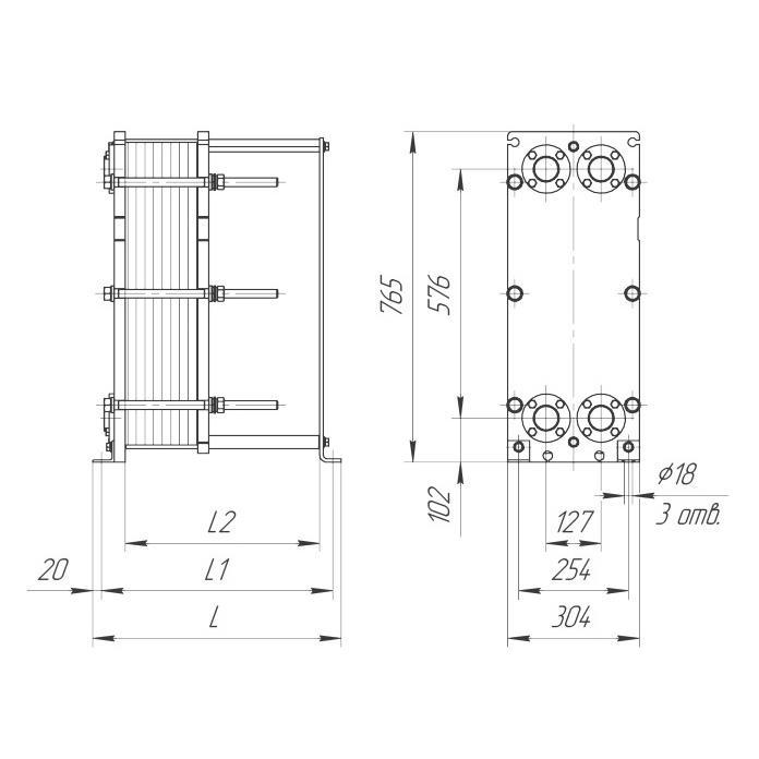 Габаритный чертеж пластинчатого разборного теплообменника Ридан НН 12М
