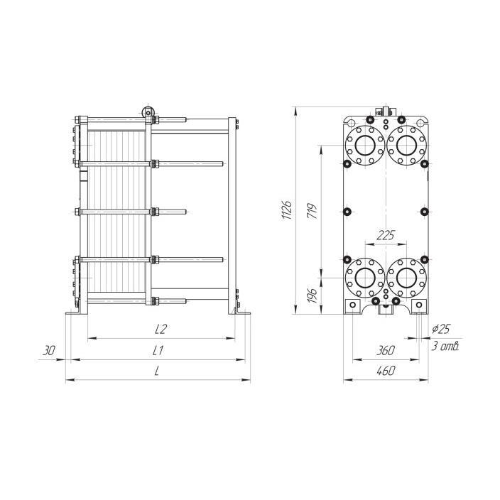 Габаритный чертеж пластинчатого разборного теплообменника Ридан НН 22Е