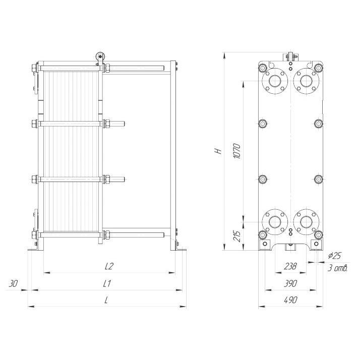Габаритный чертеж пластинчатого разборного теплообменника Ридан НН 37