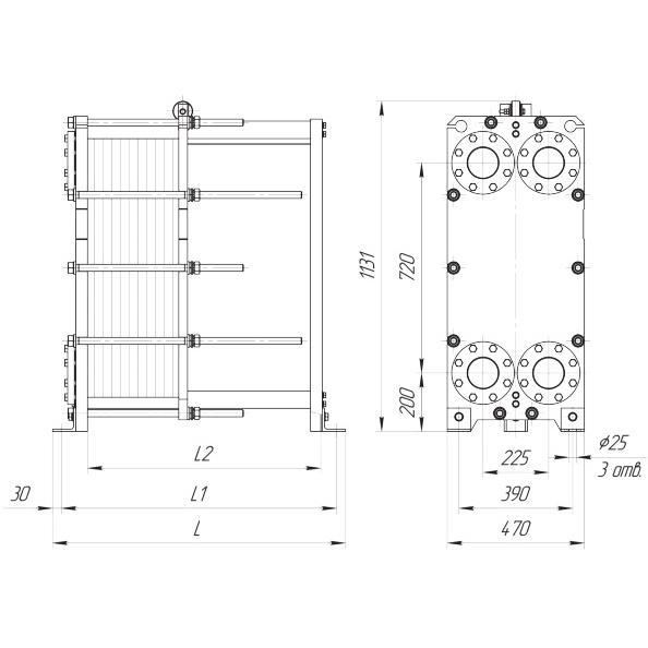 Габаритный чертеж пластинчатого разборного теплообменника Ридан XGF100-034