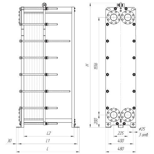 Габаритный чертеж пластинчатого разборного теплообменника Ридан XGF100-066