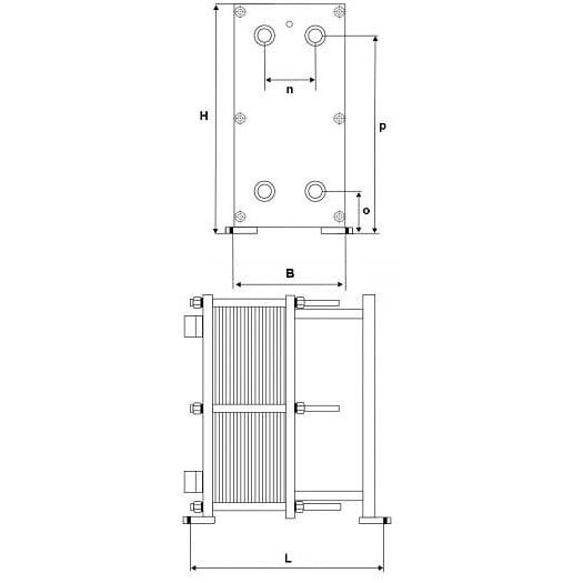 Габаритный чертеж пластинчатого разборного теплообменника Sigma M229