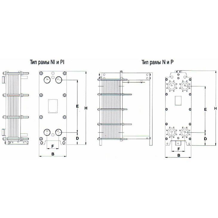 Габаритный чертеж пластинчатого разборного теплообменника Tranter GC-054 P-03